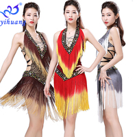 2019 Sexy Women Dancewear Dress for Latin Ballroom Salsa Rumba Cha Cha Dance Cometition Tassel Dress Performance Show Sequined