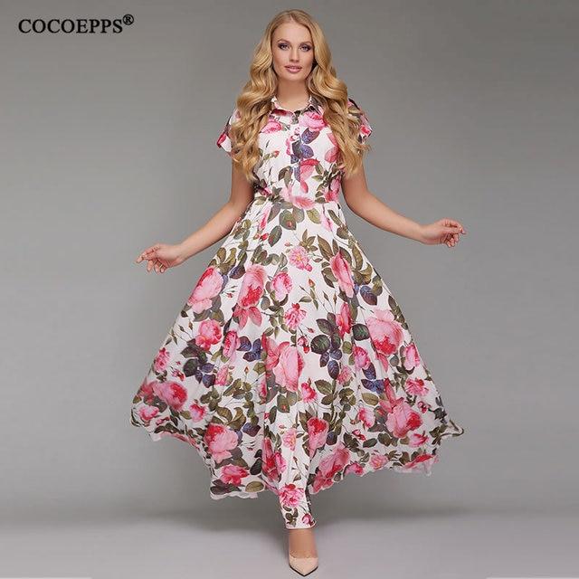 4484e2a6cf 6XL Casual Summer Chiffon Dress Women Clothes 2018 Plus Size dress Maxi  Floral print Short Sleeve Elegant New big size Dresses
