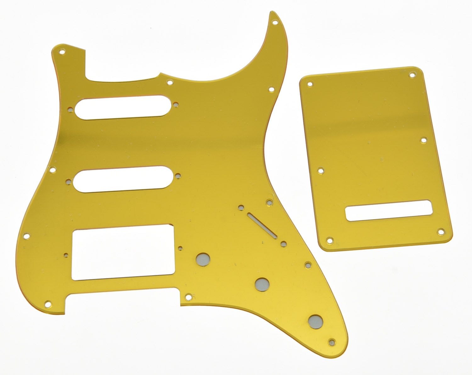 KAISH Gold Mirror HSS ST Guitar Pickguard Back Plate and Screws fits USA ST kaish various colors st style hss guitar pickguard scratch plate trem cover screws
