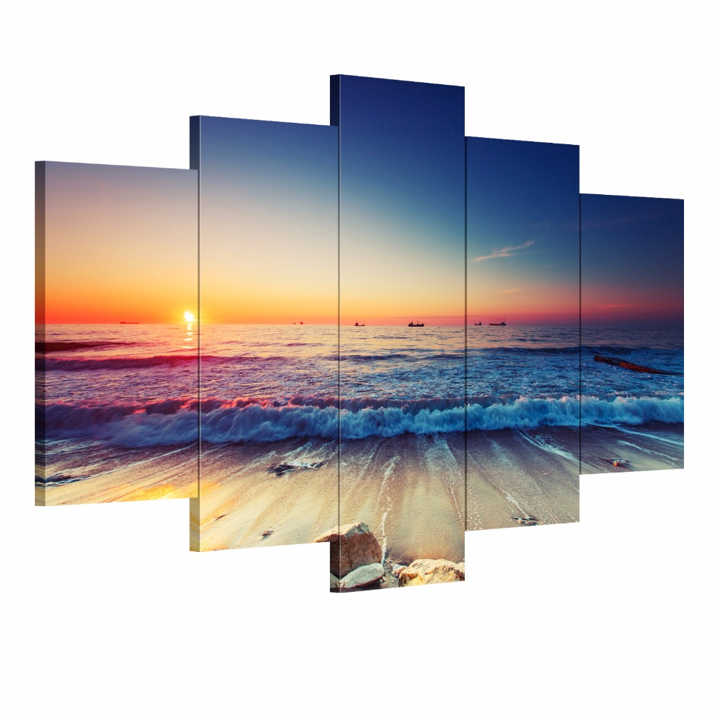 5 Pieces Modern Wall Art Canvas Unframed Modular Sunrise