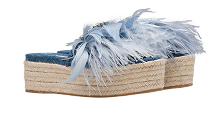 Sestito Woman Feather Embellished Slip-on Summer Denim Sandals Ladies Thick Platform Bling Crystal Casual Slingback Shoes SlidesSestito Woman Feather Embellished Slip-on Summer Denim Sandals Ladies Thick Platform Bling Crystal Casual Slingback Shoes Slides