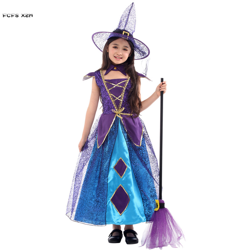 M Xl Purple Girls Halloween Witch Costume Kids Children Fairy Sorceress Cosplay Purim Carnival Stage Play Masquerade Party Dress Girls Costumes Aliexpress