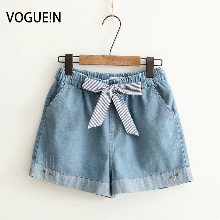 VOGUEIN New Womens Ladies Carrot Embroidered Pockets Denim Jeans   Short   Pants   Shorts   Size SML Wholesale