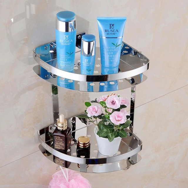 Stainless Steel 304 Two Layer Shelf Wall Chrome Washing Shower ...