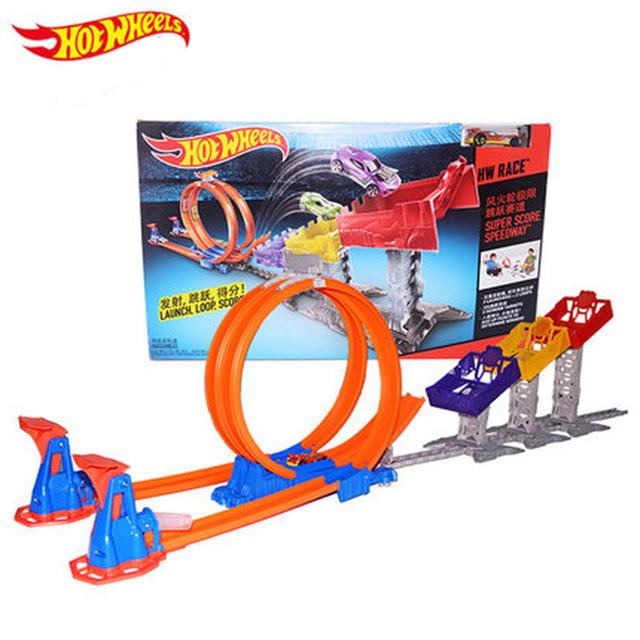 100% original hot wheels limit salto de pista rail cars toys pequeño coche deportivo stereo ciclotrón circuito los niños la mejor opción