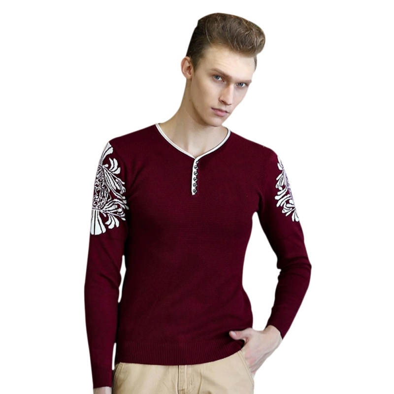 New 2018 Men Sweaters And Pullovers V-neck Sweater Men Long Sleeve Men Sweater Red Dark Blue Christmas Sweater T7