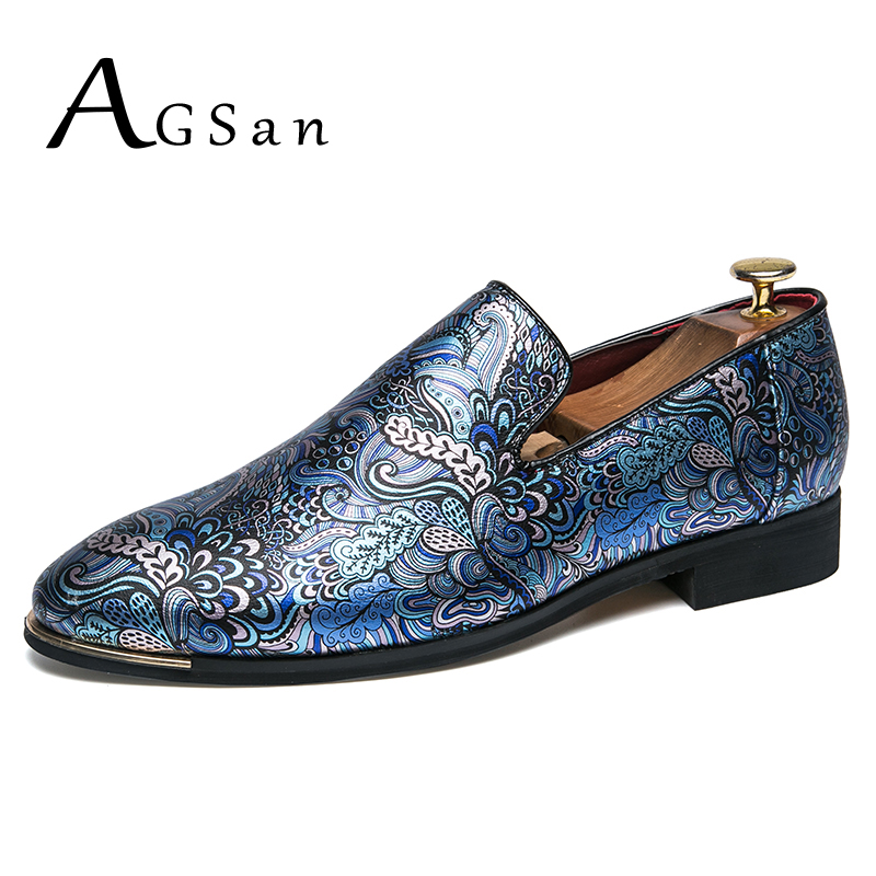 AGSan Fashion Men Dress Shoes Blue Black Silver Party Shoes Slip On Mens Oxfords PU Leather Dress Loafers Pointed Toe Shoes women ladies flats vintage pu leather loafers pointed toe silver metal design
