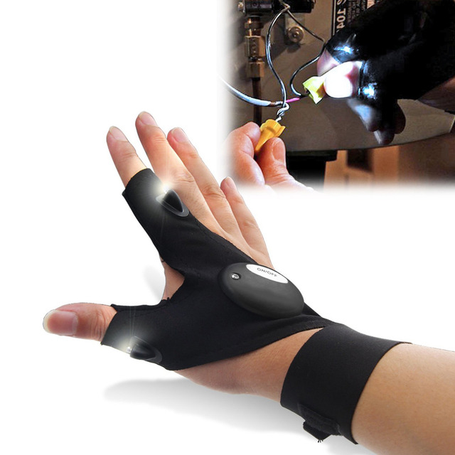 Free Shipping Outdoor Fishing Magic Strap Fingerless Glove LED Flashlight Torch Cover Survival Camping Hiking Rescue Tool