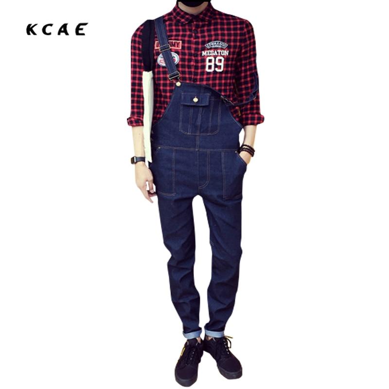 New Men's casual pocket  blue denim overalls Slim jumpsuits pants jeans for man Plus Size M-XXL 2016 new men s casual pocket blue denim overalls slim jumpsuits pants ripped jeans for man plus size 28 34