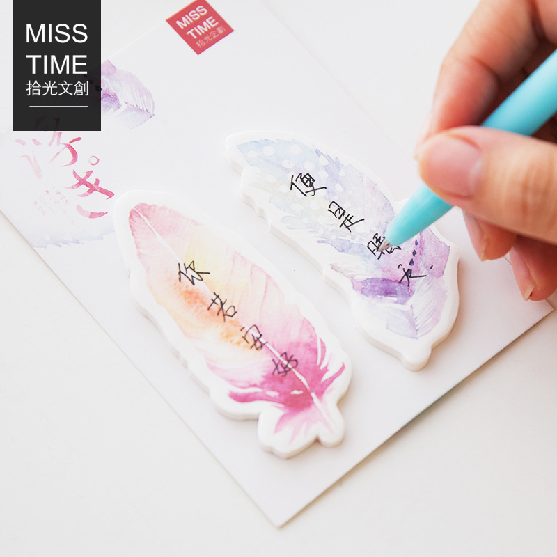 Creative Feather Sticky Notes Memo Pad Notepad Kawaii Post It Note Bookmark Gift Office School Supply Papeleria Students