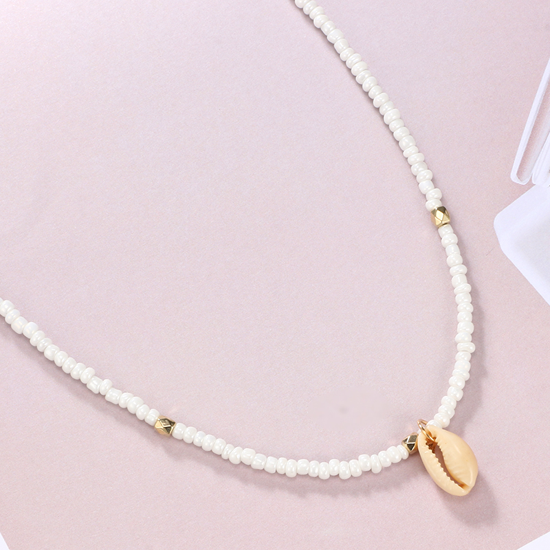 HuaTang Bohemian Green Rhinestone Shell Choker Pendant Necklace for Women Charming Bead Jewelry Beach Outfits Collares 6947 3