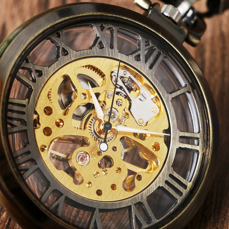 Vintage Bronze Silver Golden Glass Case Hollow Roman Number Skeleton Steampunk Hand-Wind Mechanical Pocket Watch Hot Selling silver smooth case vintage roman number hand wind mechanical pocket watch double open hunter case fob watches men women gift