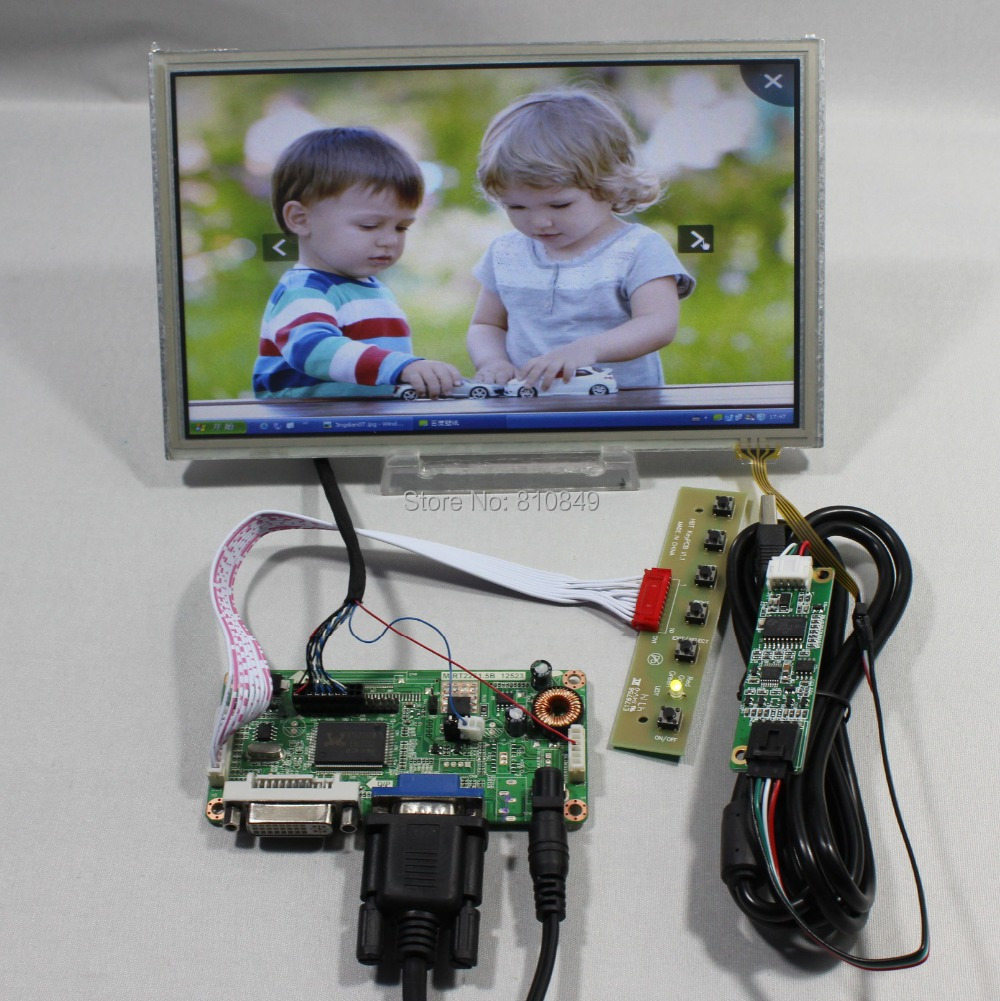 DVI+VGA lcd controller board  +8.9inch HSD089IFW1 1024X600 lcd+Touch screen 8 4 8 inch industrial control lcd monitor vga dvi interface metal shell open frame non touch screen 800 600 4 3