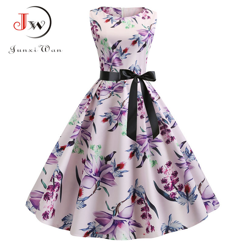 Women Summer Vintage Dress Floral Print O-Neck Sleeveless Pin Up Party Dress Vestidos Casual Elegant Rockabilly Retro Dress