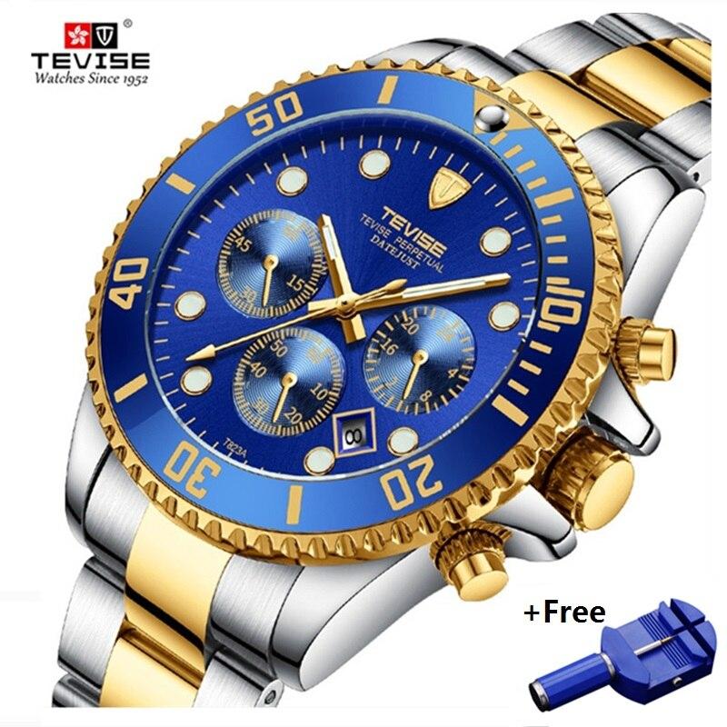 TEVISE Quartz Watches Men Waterproof Luxury Brand Watch Date Man Stianless Steel Mens Wrist Watch Male Clock Erkek Kol Saati