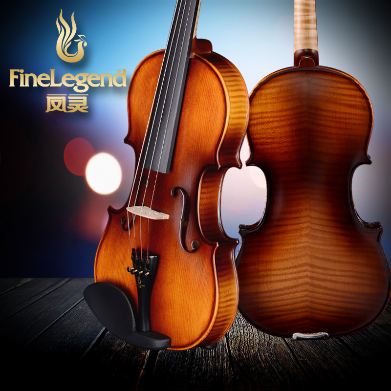FineLegend 4/4 Tiger Pattern Handmade Professional Violin Solid Spruce Maple with Bow, Case, Rosin LCV1111-F brand new handmade colorful electric acoustic violin violino 4 4 violin bow case perfect sound