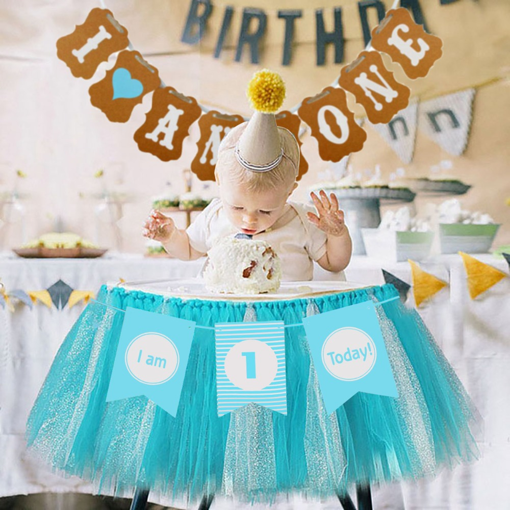 Image 2 - Lincaier First Birthday Baby Boy Party Decorations 12 Months Photo Frame Banner 1st  Birthday My 1 Year I AM ONE Supplies-in Banners, Streamers & Confetti from Home & Garden