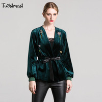 2017 Women Trench Coat Casual Long Sleeve Spring Autumn Windbreaker Black Diamonds Green Sashes Velvet Coat