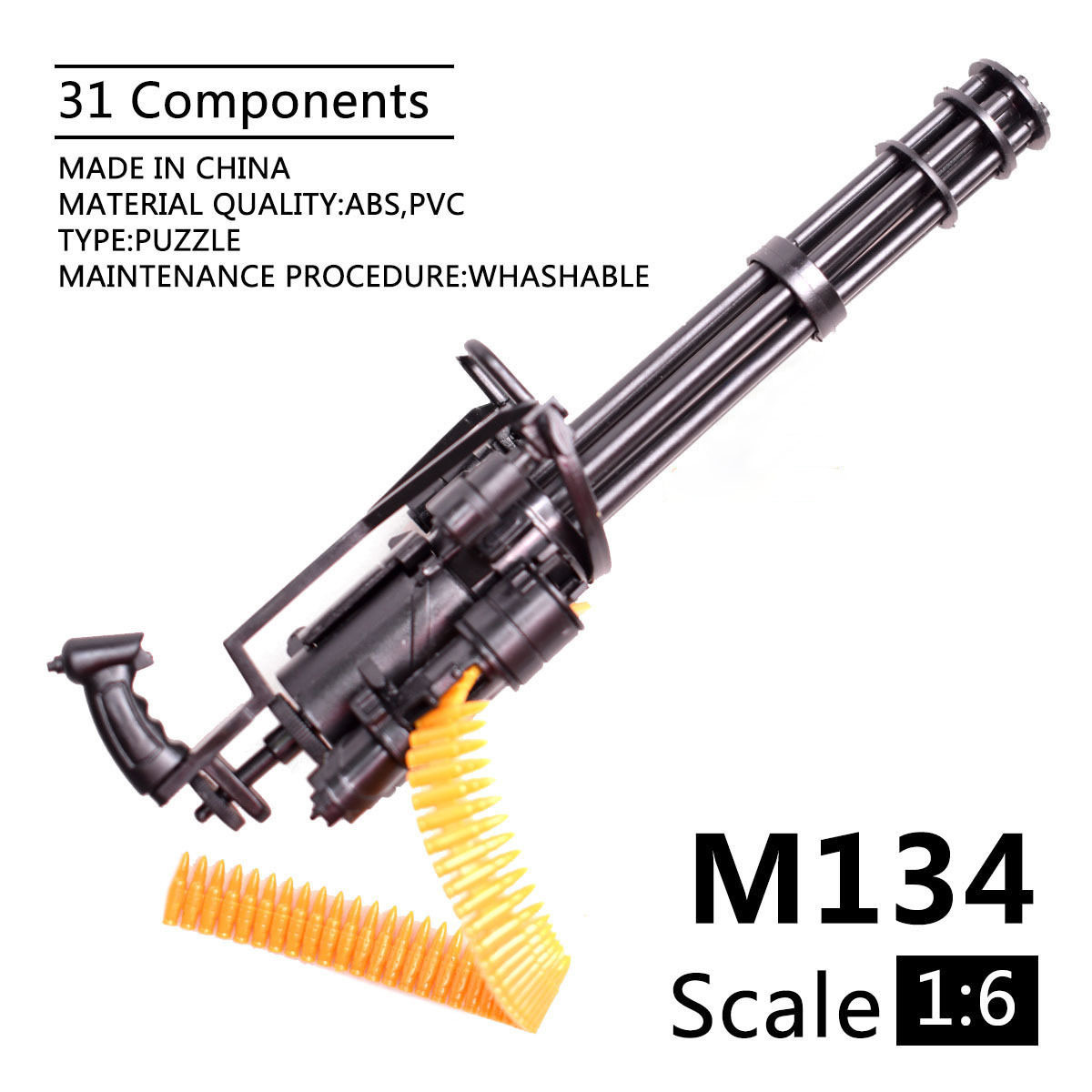 Gatling 4D Assembly Toy Gun, 1:6 Toy Gun,1/6 M134 Minigun Gatling Toy Gun