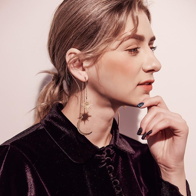 KISS ME Newest Shiny Crystal Star Moon Earrings Charming Earrings for Women  Fashion Jewelry Brincos 3