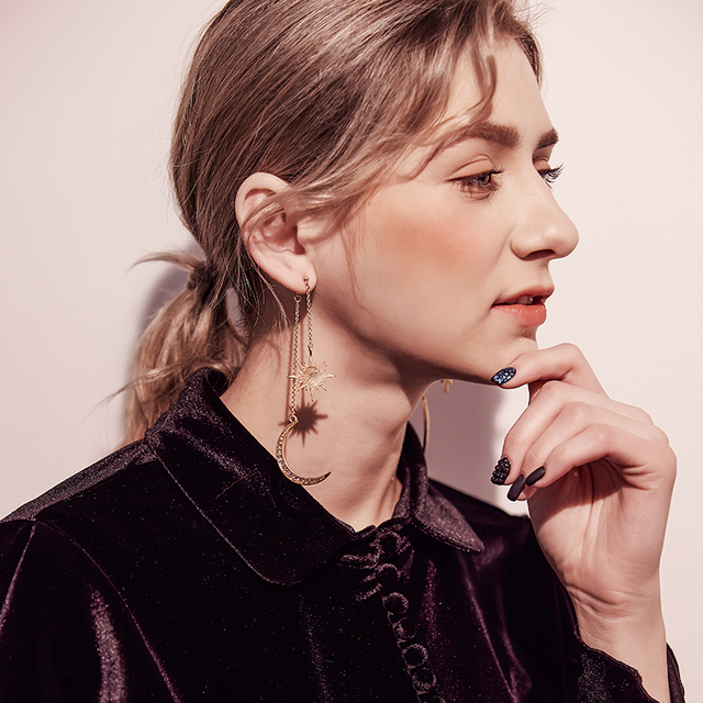 KISS ME Newest Shiny Crystal Star Moon Earrings Charming Earrings for Women 2017 Fashion Jewelry Brincos 3