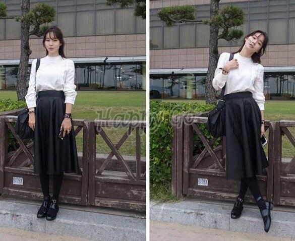 PU Faux Leather Skirt Pleated Midi Long high waist vintage black ...