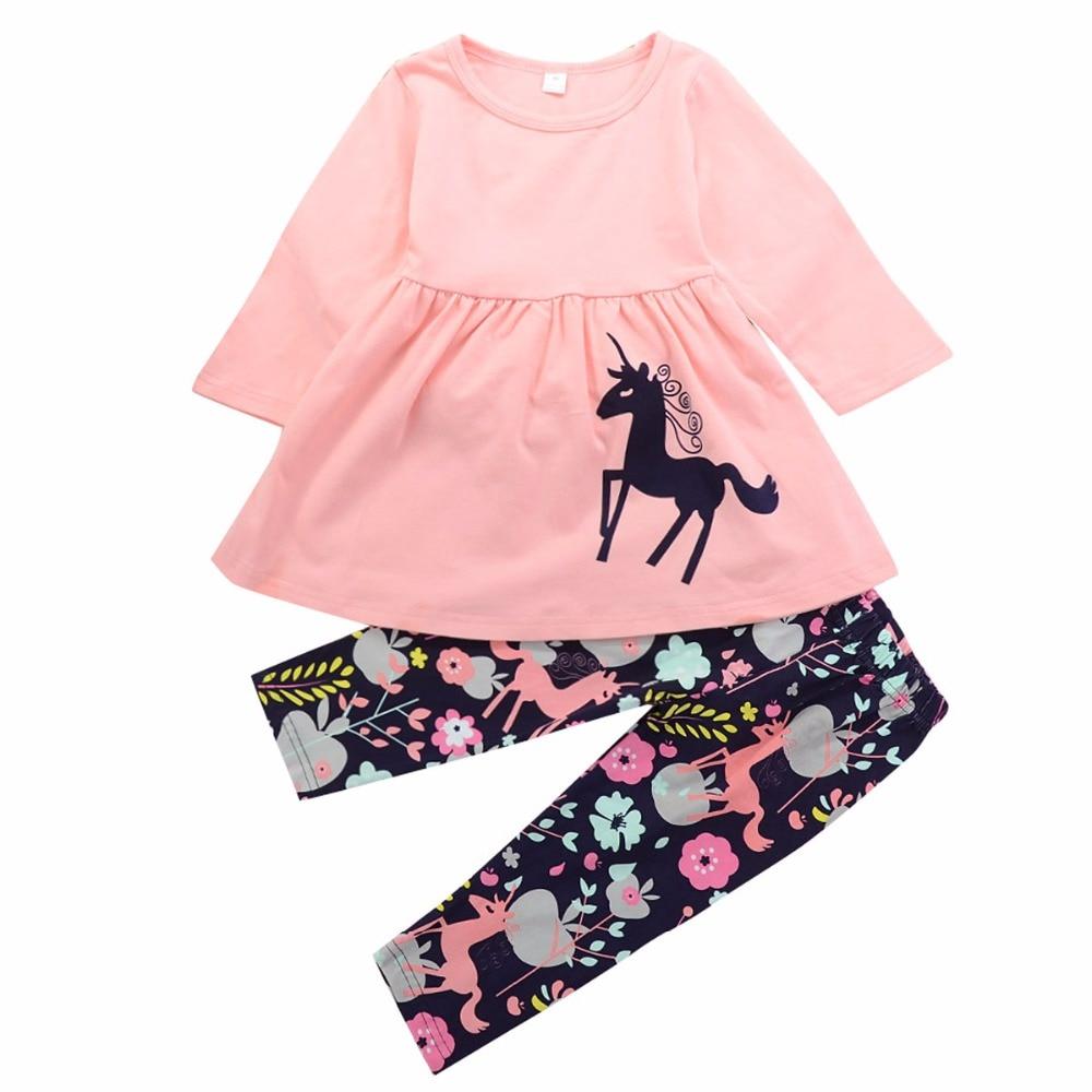 Baby Girl kid Unicorn Clothes Set spring pony Kids Girl