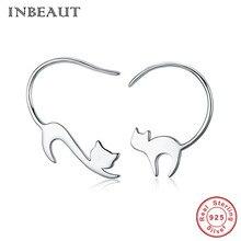 купить 925 Sterling Silver Hot Sale Little Kitten Cat Stud Earrings for Little Girls Cute Animal Trinket Earrings Women Gift Jewelry по цене 590.01 рублей
