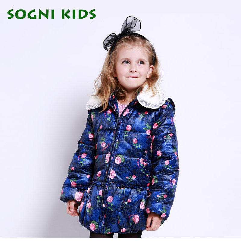 Girls Rose flower down jacket Fur collar Removable thick cotton padded jacket Floral print coat kids