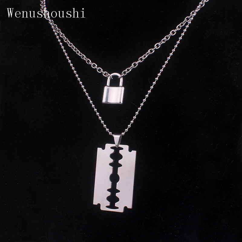 (Couleur ne se décolore pas) chaînes en couches hiphop Punk acier inoxydable cadenas collier hommes rock Lock Blade colliers pour femmes di067
