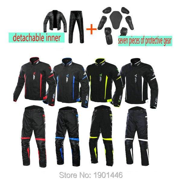 MC moto rcycle moto cross équitation protection costume Étanche moto sport pantalon + veste Doublure Amovible moto rbike veste Jaqueta