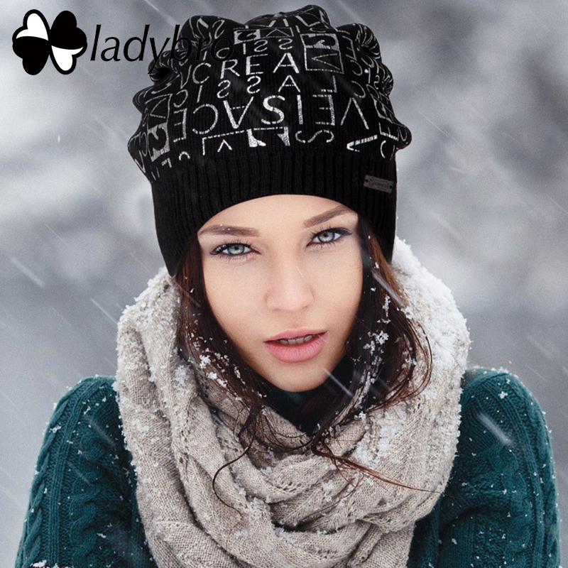 Ladybro Women's Hat Autumn Winter Wool   Beanie   Letter Casual Warm Hat Female   Skullies     Beanies   Print Bonnet Femme knitted Hats