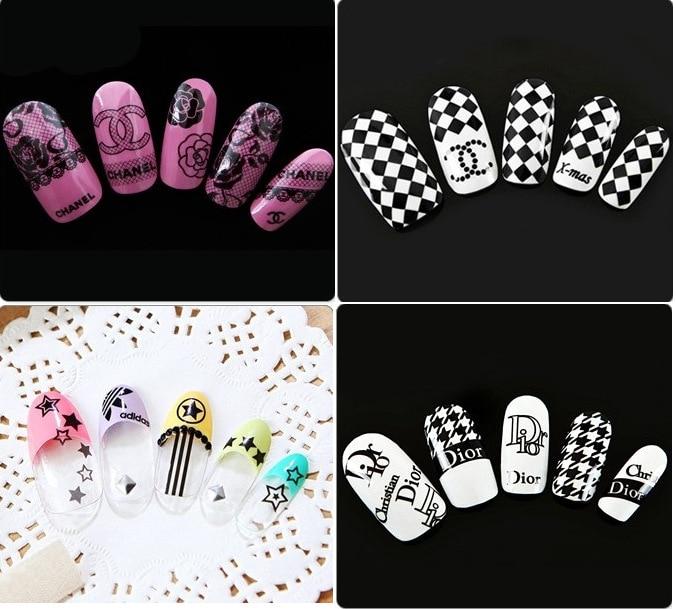 New 5 sheet 3D Nail Sticker Mixed Colorful Designs Nail Stic