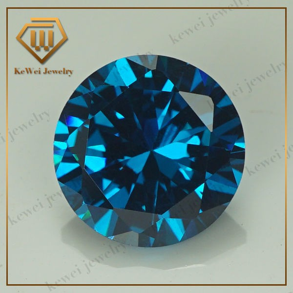 Factory Sell 5.25mm-8mm Dark Aqua AAAAA CZ Stone Brilliant Round Cut Cubic Zirconia Loose Gems For Sale