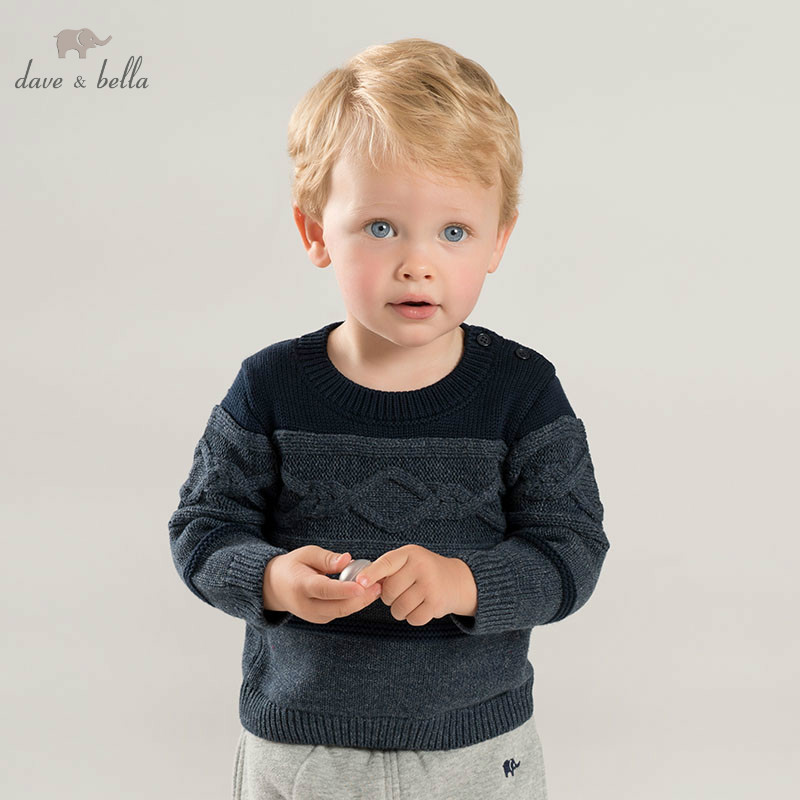 все цены на DB8667 dave bella autumn knitted sweater infant baby boys long sleeve pullover kids toddler tops children knitted sweater