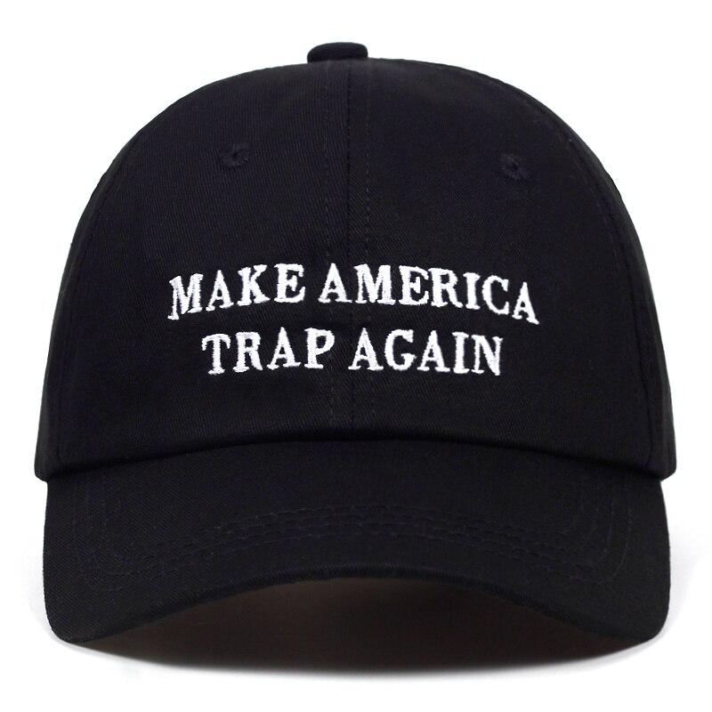High Quality Letter MAKE AMERICA TRAP AGAIN Snapback   Cap   Cotton   Baseball     Cap   For Men Women Hip Hop Dad Hat Bone Garros