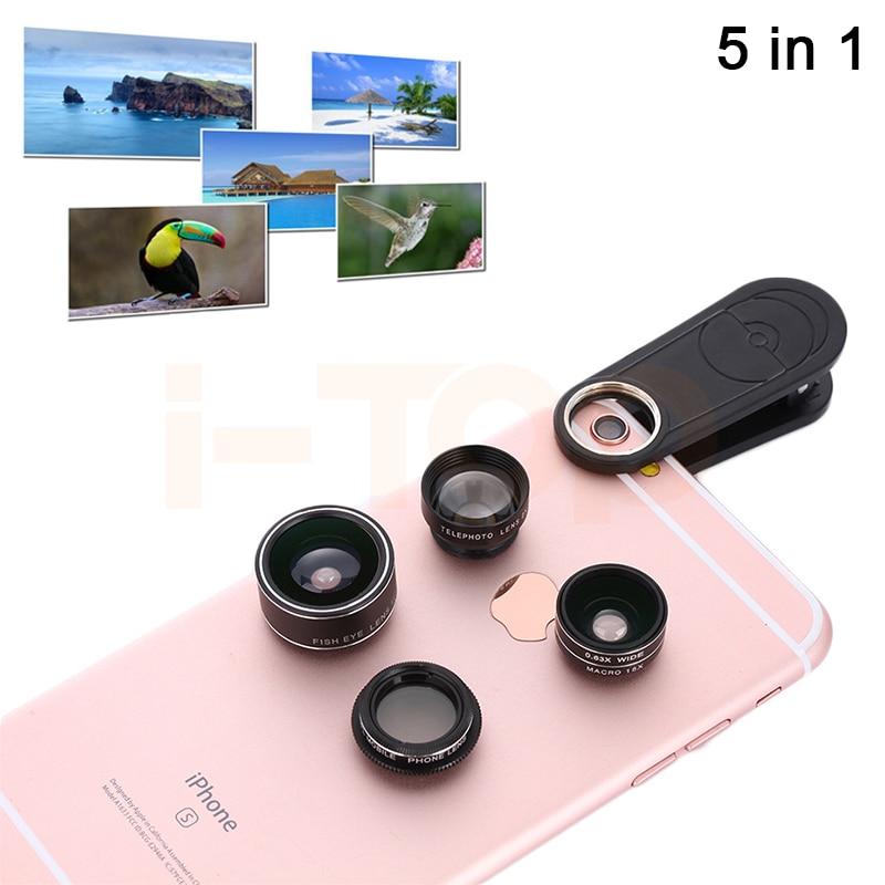 2017 5in1 Mobile Phone Lenses Kit 2X Telephoto Lens 198 Telescope Fisheye 0.63X Wide Angle 15X Macro Lentes CPL For Cell Phone