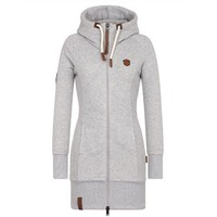 Women Hoodie Sweatshirt Zipper hooded long coat plus size 5XL Winter Autumn warm lady office young girl school cheap