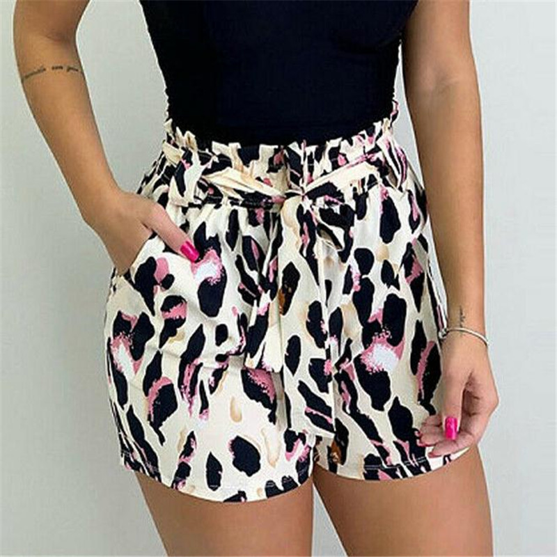 Women Leopard Printed Shorts New Sexy Sashes Summer Short Panties Sports Running Gym Short Pants Ladies' Fashion Pants Hot Sale