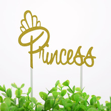 20pc Cake Toppers Flags Princess Queen Girl Glitter Cupcake Topper Kids Birthday Wedding Bride Party Baby Shower Baking DIY