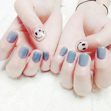 Simple 24 pcs/set haze blue smile short size finished false nail,Square head full Nails tips,girl finger art tool ALI-28