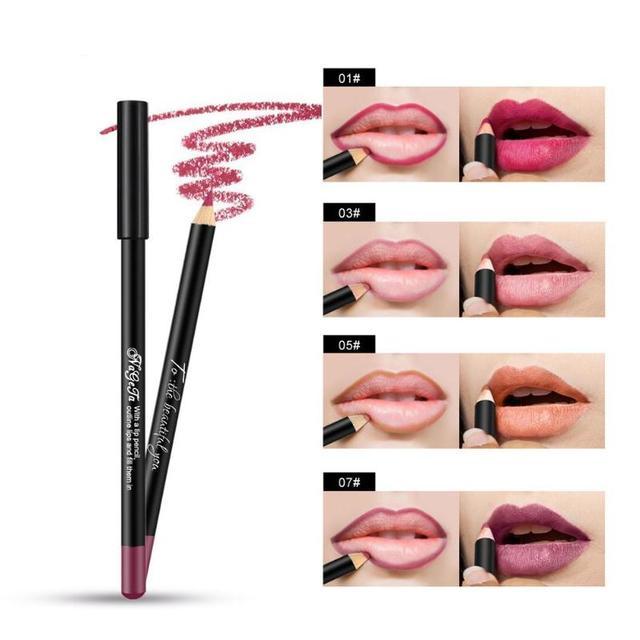 12 צבע מט תוחם שפתיים שפתון עיפרון עמיד למים לאורך זמן ליפ גלוס איפור קוסמטי Maquillajes Para Mujer