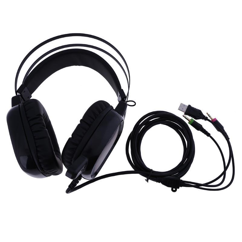 Профессиональный Gamer наушников USB/Dual 3.5 мм Проводная гарнитура для ПК наушники динамик с микрофоном для Видеоигры