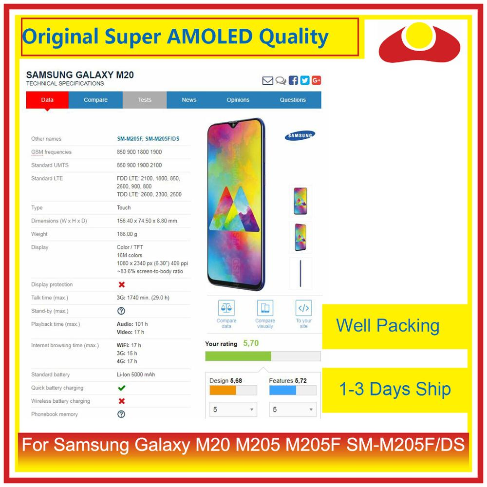 Image 2 - 10Pcs/lot Original For Samsung Galaxy M20 M205 M205F SM M205F/DS LCD Display With Touch Screen Digitizer Panel Pantalla Complete-in Mobile Phone LCD Screens from Cellphones & Telecommunications
