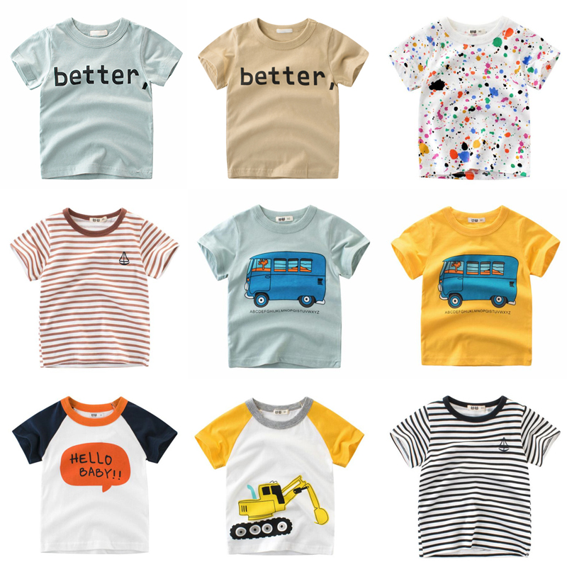 Toddler Infant Baby Kids Boys Girls Summer Letter Print Tee Tops T-shirt Clothes
