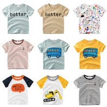 e16c6bb533 Tanie 1-7Y data data powrotu (list drukuj dziecko chłopcy T Shirt w paski na  lato dla niemowląt dla dzieci chłopcy dziewczęta t-.