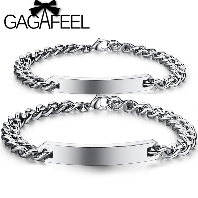 1a1733024b54 GAGAFEEL moda personalizado grabado nombre pulseras Acero inoxidable DIY  pareja brazaletes para hombres mujeres amante regalo de Navidad