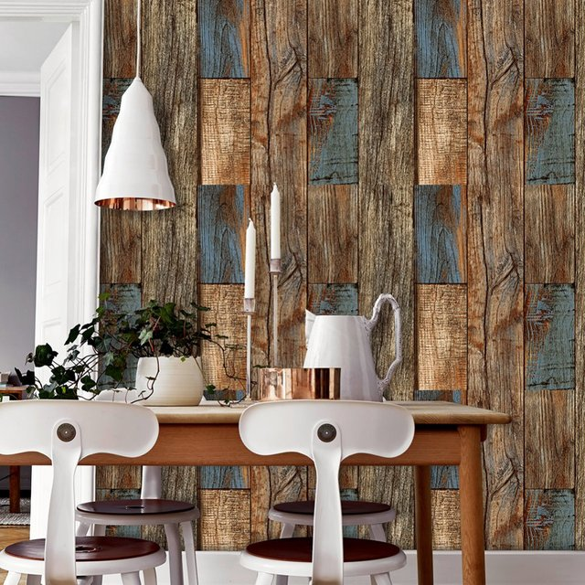 HaokHome 3d Vintage Faux Wood Plank PVC Wallpaper Tan Brown Blue Textured Rolls Living