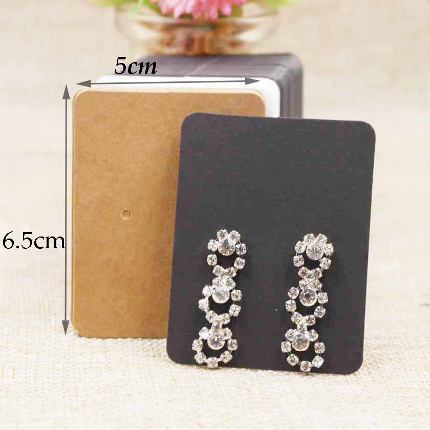 200PCS Paper Cardboard Kraft/white/black Earring Package Card 5*6.5cm For Jewelry Earring Display Tag Card Custom Cost Extra