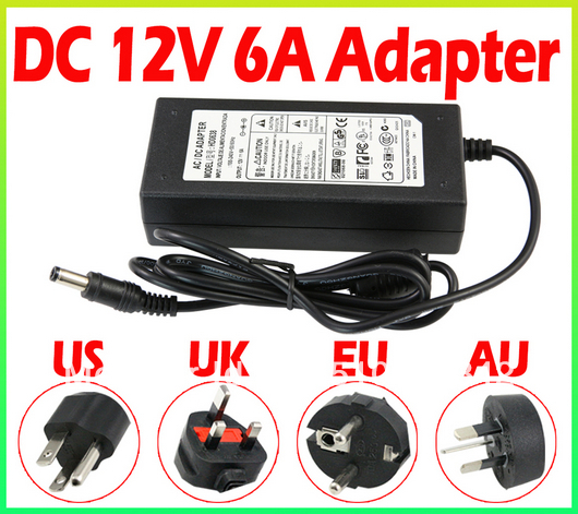 Free Shipping 6A 12V US EU UK AU Cord Plug Power Supply Transformer For RGB White 5050 3528 LED Strip Light Cristmas Decoration